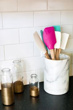 Whether you choose real marble, faux marble, light or dark neutral tones, marble accents can be easily integrated into your preexisting decor. Kitchen Supplies, Kitchen Items, Kitchen Decor, Kitchen Tools, Kitchen Ware, Kitchen Things, Design Kitchen, Kitchen Styling, Little Kitchen