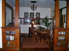Craftsman Bungalow Interiors | Another wood divider (with ionic columns) between the living room and ...