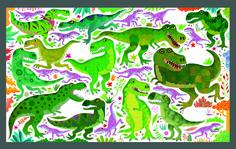 Look and Find Dinosaurs - Gareth Lucas #dinosaurs #styracosaurus #trex #pteranodon #stegosaurus #argentinosaurus #diplodocus #gigantosaurus #spinosaurus #look #find #picture #puzzle #activitybook #childrensbook #illustration #kidlitart #garethlucas