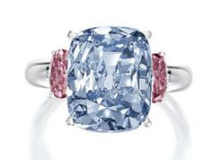 This ring set with a 6.01-carat cushion-cut blue diamond, flanked by pink diamonds, went for 10 million dollars at Sotheby's Hong Kong in October