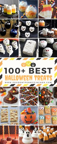 halloween desserts Try one of these creative and fun halloween treats! From candy corn and ghosts to mummies and witch themed treats, there's something spooky for everyone! Halloween Desserts, Bonbon Halloween, Fun Halloween Treats, Halloween Baking, Halloween Tags, Halloween Goodies, Halloween Birthday, Holiday Treats, Halloween Crafts