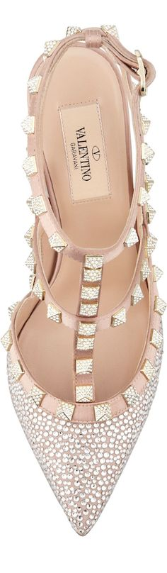 Valentino Womens Poudre Rockstud Crystallized T-Strap Slingback Dream Shoes, Crazy Shoes, Me Too Shoes, Valentino Shoes, Valentino Rockstud, Pretty Shoes, Beautiful Shoes, Zapatos Shoes, Shoes Heels