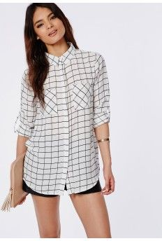 Tayah Monochrome Grid Print Slim Fit Shirt