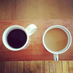 His is black, mine's creamy Every morning, for my hubby