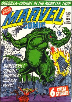 Several of the Marvel Godzilla comics were printed for the UK in the Marvel Comic weekly compilation issues, which would collect several stories from the US into one single collection. Many of the covers would feature original or redone artwork.