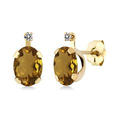 1.41 Ct Oval Champagne Quartz White Diamond 14K Yellow Gold Earrings. This item is proudly custom made in the USA. 100% Satisfaction Guaranteed. Gemstones may have been treated to improve their appearance or durability and may require special care.