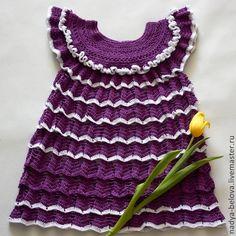 Купить Вязаное платье-туника для девочки (фиолетовый+белый) - темно-фиолетовый, фиолетовый, платье, платье для девочки