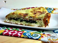 quiche de queijo, espinafres e salpicão