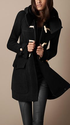 im gonna cry I want it so bad    Burberry - Wool Duffle Coat (in black or navy blue)