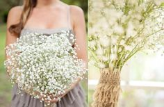 babys breath bridesmaid bouquet- like how it looks...sea spray!