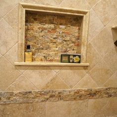 Classic Travertine Tile Shower Design Ideas, Pictures, Remodel, and Decor - page 142.  GREAT shampoo nook!