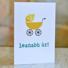 Leanabh ùr // New baby Scottish Gaelic card by Oalba on Etsy Scottish Greetings, Scottish Gaelic, Brown Envelopes, New Baby Products, Greeting Cards, Place Card Holders, Paper, Etsy