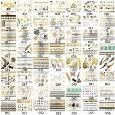 Latest 56 Assorted Styles Golden Silver Metallic Temporary Tattoos Jewelry Fancy #Unbranded