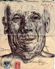Bic Biro drawing on 1946 envelope