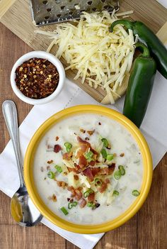 Gluten-free Cheesy Pepper Jack Potato Chowder is thick, creamy, and just spicy enough. | iowagirleats.com