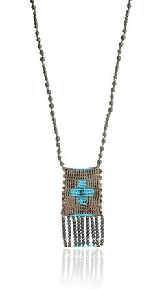 Zoe Kompitsi | Turquoise Rectangle Cross Necklace