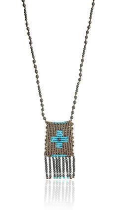 Zoe Kompitsi   Turquoise Rectangle Cross Necklace