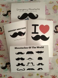 Various Moustache Greetings Cards by PrincessMooGifts on Etsy Moustache, Greeting Cards, Unique Jewelry, Funny, Handmade Gifts, Etsy, Kid Craft Gifts, Mustache, Craft Gifts