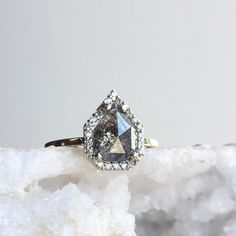 black diamond engagement ring with pavé halo  ::  Alexis Russell