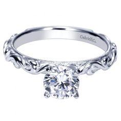14k white gold ornate solitaire round diamond engagement ring