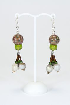 Boucles d'oreilles marron, 3 graines #gadhorre #jewelry