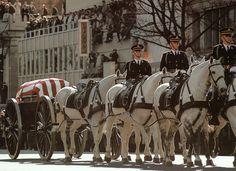 President John F. Kennedy's casket in procession to Arlington National Cemetery, November 25, 1963.