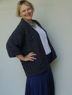 20 OFF Gray Cardigan Sweater  Women's Crochet Jacket L by toivima, $69.20