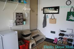 Mudroom in the garage.