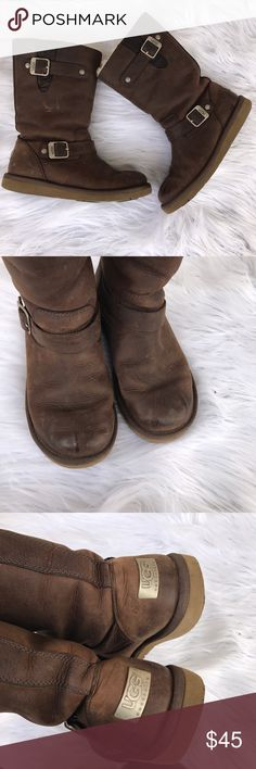 UGG AUSTRALIA SZ 7 LEATHER BOOTS SHOES BUCKLES Super cute ugg boots, 100% authentic UGG Shoes Winter & Rain Boots