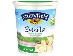 #Stonyfield Banilla Low Fat Yogurt Smooth 'n Creamy - we buy 5 of these a week for me and 5 French Vanilla's for my guy! Yeah, we love 'em!