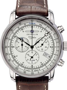 Graf Zeppelin 7680-1 Watch features a Swiss Ronda quartz-controlled chronograph movement with an alarm function, date window, Brequet style hands, a tachymeter scale, and both seconds and 30 minute timer sub-dials.