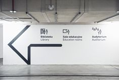 Wayfinding system in Silesian Museum on Behance Park Signage, Directional Signage, Wayfinding Signs, Wall Design, Layout Design, Navigation Design, Sign System, Parking Signs, Parking Lot