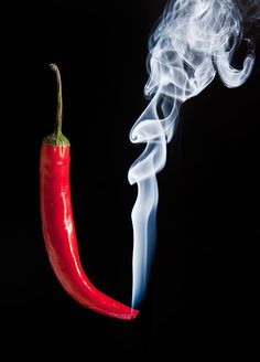 Smoking red hot chilli pepper with burning tip and smoke by Matt Gibson - Photo 112494391 - Food Backgrounds, Black Backgrounds, Filthy Jokes, Photo 3d, Black Background Images, Fruit Photography, Red Chilli, Stuffed Hot Peppers, Smoke