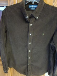RALPH LAUREN POLO Mens Brown Corduroy Shirt XL EXTRA LARGE Custom fit #RalphLauren #ButtonFront