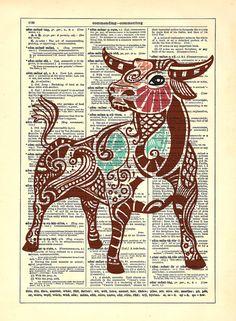 Taurus Repurposed Upcycled Dictionary Art