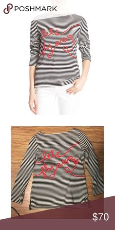 Kate Spade Let's Fly Away Top A cute white and black striped long sleeve top with red letter saying let's fly away. In great condition, worn three times. It's a size XXS but listed it as XS because it feels a tad bit bigger. kate spade Tops