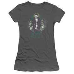 Suicide Squad Suicide Joker Juniors Tee - Officially Licensed - High Quality - 100% Pre-Shrunk Deluxe Combed Ringspun Cotton / Fabric Weight 4.3 oz. - Pre-Shrunk to Minimize Shrinkage - Features a Sli