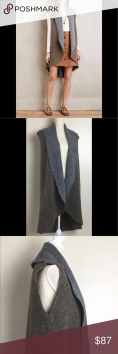 """Chic Anthropologie MOTH Shawled Long Sweater Vest Chic Anthropologie MOTH Shawled Avalee Long Sweater Vest    Size : XS / S / M   Measurements: (approximate and taken with garment lying flat & unstretched)  Width (from armpit to armpit / back )  - 18.5"""" Shoulder to shoulder ( back ) - 14"""" Length ( measure top of jacket to bottom, not including collar height / back  ) - 38""""    39% Acrylic  / 21% Polyester / 21% Wool / 18% Nylon / 1% Elastane   Color/shade may vary slightly on different…"""
