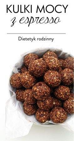 kulki mocy z espresso Vegan Desserts, Vegan Recipes, Cooking Recipes, Brownie Recipe Without Chocolate, Vegan Gains, Good Food, Yummy Food, Easy Food To Make, Sweets Recipes