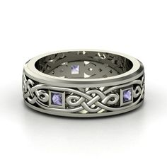 Men's Sterling Silver Ring with Iolite  | Alhambra Knot Band - I'd love to give him this one, but do men ever receive jewels for anniversaries?
