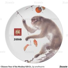 2016 Chinese Year of the Monkey Gift Melamine Decorative Plates with a traditional Asian painting of the monkey inspired by paintings of Japanese artist Hashimoto Kansetsu ( 1883 - 1945). Matching cards, postage stamps, traditional Chinese red envelopes and other products available in the Chinese New Year / Year of the Monkey Category of the artofmairin store at zazzle.com