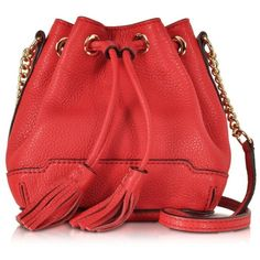 Rebecca Minkoff Designer Handbags Cherry Leather Micro Lexi Bucket Bag ($295) ❤ liked on Polyvore featuring bags, handbags, shoulder bags, red leather purse, hand bags, mini bucket bag, leather purse and leather bucket bag