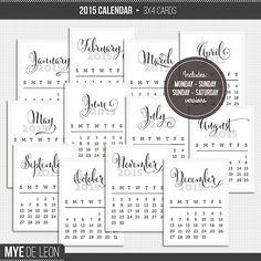 Quality DigiScrap Freebies: 2015 Calendar cards freebie from Mye De Leon