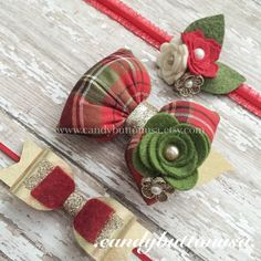 Christmas Hair Clip Gold Baby Bow Holiday by candybuttonusa