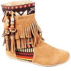 Flat Fringe Moccasin Boots for Women