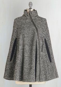 Beacon Hill Breakfast Cape - Mid-length, Press Placement, Grey, Herringbone, Exposed zipper, Pockets, Vintage Inspired, Work, Fall, Winter, Woven, Best, 1