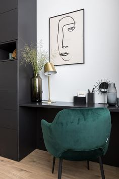 You create a chic workplace with luxury materials such as gold and velvet Extra Rooms, Home Staging, Beautiful Interiors, Apartment Living, Interior Inspiration, Home Office, Living Room Designs, Room Decor, House Design