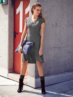 Cap Sleeve Godet Dress Burda 09-2014-122... nice dress but without the godet and the high low hem