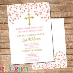 Pink and Gold Baptism or Christening Invitation by PicsandPaper