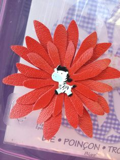 Zebra Red Vinyl Sizzix Daisy Hair Clip